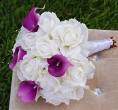 Roses and Purple Callas Bouquet. Natural Touch Off White Roses and Violet Calla Lilies by www.wedideas.com