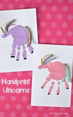 Make an adorable unicorn craft using your child's handprint.