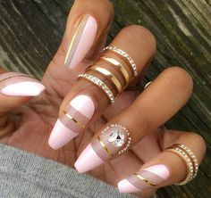 Pink & Gold nails