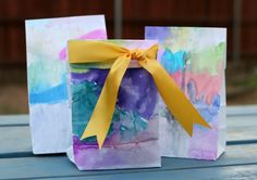 DIY Easy Watercolor gift bags