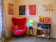 The reading corner, with lots of distractions. The Stephen Sprouse pillow, if estate sale legend is true, once lived in Andy Warhol's abode.