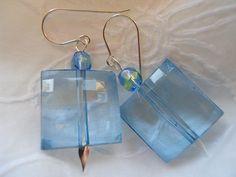 Blue Lucite Earrings by JoJosgems on Etsy, $15.00