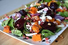 Check out this delicious recipe for Autumn Rainbow Salad from Weber—the world's number one authority in grilling. Pumpkin And Beetroot Salad, Pumpkin Salad, Weber Recipes, Rainbow Salad, Weber Bbq, Vegetable Salad, Fruit And Veg, Casserole Dishes