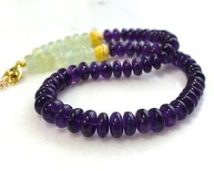 Polished African Amethyst and Prehnite Necklace in 22kg Vermeil...