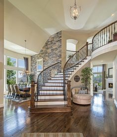 Staircase in Open Floor Plan. want to put my christmas tree by the stairs Staircase in Open Floor Plan. want to put my christmas tree by the stairs Staircase in Open Floor Plan. want to put my christmas tree by the stairs Grand Staircase, Staircase Design, Curved Staircase, Staircase Ideas, Staircase Walls, Stairs Flooring, Balcony Flooring, Entryway Stairs, House Staircase