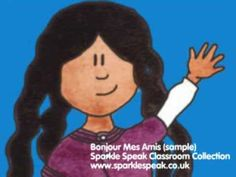 Bonjour Mes Amis (Hello my friends) French song - cute song - easy for kids to learn