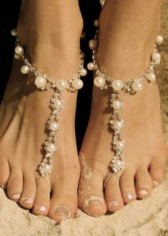 Bridal Barefoot Sandals for your upcoming Beach Wedding www.loveitsomuch.com