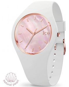 99€. Boitier rond silicone blanc 34mm taille S, cadran nacre rose, bracelet silicone blanc, étanche 100m Ice Watch, Bracelet Silicone, Pearl White, Pink, Rose, 100m, Watches, Pearls, Instagram