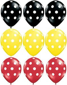 18 Polka Dot MICKEY MOUSE PARTY Balloons Red Black & by PABoutique, $12.99