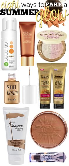 Eight Ways To Fake A Summer Glow! Fabulous makeup and beauty products to help yo., Uncategorized, Eight Ways To Fake A Summer Glow! Fabulous makeup and beauty products to help you with a bronze look! All Things Beauty, Beauty Make Up, My Beauty, Beauty Secrets, Beauty Skin, Beauty Hacks, Hair Beauty, Beauty Products, Tanning Tips