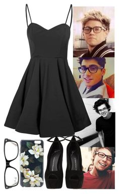 """Glasses Day with Harry,Niall,Zayn and Louis"" by brubisbruu ❤ liked on Polyvore featuring Glamorous, Giuseppe Zanotti, Sonix and Ray-Ban"