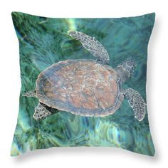 "Graceful Swim Throw Pillow (14"" x 14"") by Tammy Finnegan.  Our throw pillows are made from 100% cotton fabric and add a stylish statement to any room.  Pillows are available in sizes from 14"" x 14"" up to 26"" x 26"".  Each pillow is printed on both sides (same image) and includes a concealed zipper and removable insert (if selected) for easy cleaning."