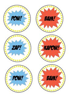 """Superhero Cupcake Toppers - These FREE downloads would also look pretty neat in the Superhero theme classroom! Use them for a word wall or to add a little """"pop"""" every once in awhile!"""