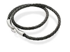 silver and Leather Plait Hook Necklet 019307 From the Seven Collection. A black leather plait necklet with sterling silver hook links - stylish and contemporary. Matching leather bracelet - product code 019201 http://www.comparestoreprices.co.uk/jewellery/silver-and-leather-plait-hook-necklet-019307.asp