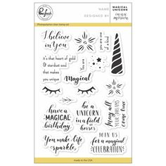 You'll believe in magic when you create with the Magical Unicorn Clear Acrylic Stamps by Pinkfresh Studio. Included in the set are 18 photopolymer stamps on a Card Creator, Free Cards, Unicorn Crafts, Scrap Metal Art, Card Sentiments, Card Tricks, Found Art, Flower Stamp, Believe In Magic