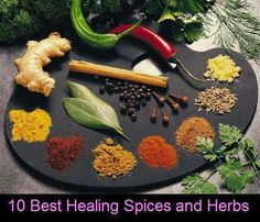 ~10 Best Healing Spices and Herbs from your Kitchen ~   Turmeric This golden spice, used in almost every meal