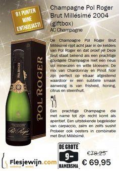 Deze Pol Roger Brut Millésimé 2004 Champagne is een prachtige goudgele Champagne met een fijne mousse en een beschaafd parfum van bloesem, citrusfruit en honing. Een prachtige balans tussen de Pinot Noir en Chardonnay druiven. Subtiele smaak met elegante frisheid en een zachte afdronk. (Actie tm 31-12-15) http://www.flesjewijn.com/wijnen/champagne+pol+roger+brut+millesime+2004+37109