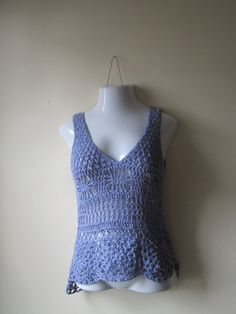 Crochet tank top, Lace, LAVENDER festival top, boho chic, beach cover up, gypsy top, cotton