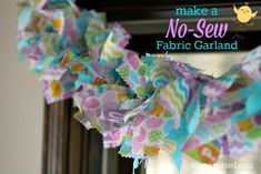 Make A No-Sew Fabric Garland {Easter Themed} – Mom Spotted – Diy Garland 2020 Rag Garland, Ribbon Garland, Easter Garland, Fabric Garland, Diy Ribbon, Garland Ideas, Easter Tree, Cape Tutorial, Easy Easter Crafts