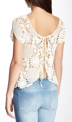 Crochet Tie Open Back Blouse