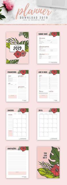 Está na hora de começar o ano de uma forma organizada, aproveite o planner 2019. Uma versão maravilhosa para você imprimir e montar o seu planner como quiser! #planner2019 #planner