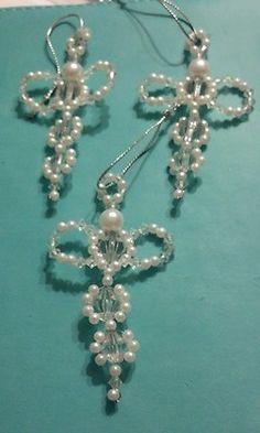 3 Beaded Angel Ornaments | eBay Beaded Christmas Ornaments, Angel Ornaments, Christmas Jewelry, Christmas Angels, Handmade Christmas, Christmas Crafts, Safety Pin Art, Beaded Angels, Handmade Angels