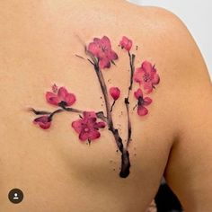 #Blossom #tattoo #pink #brown #girly #back