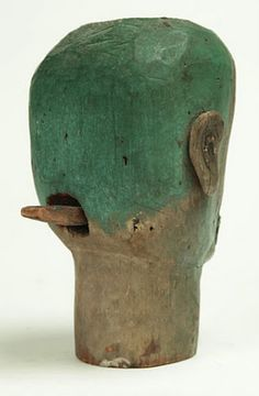 Anonymous Works: 19th Century Ventriloquist Head   A well-travelled head.  Sold for $3,055 at Garth's.