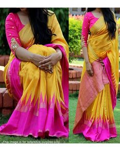 Buy Shree Ram Yellow And Pink Banglori Silk Gold Foil Printed Saree With Embroidered Blouse at happydeal18.com, India's biggest shopping store