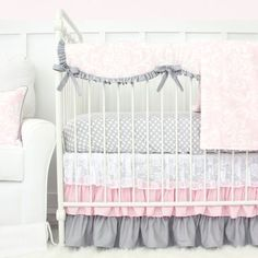 Pink and Gray Sweet Lace Damask Bumperless Crib Bedding | Caden Lane