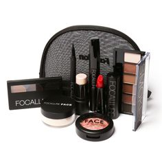FOCALLURE Face Shop Tool Kit 8 PCS Must Have Cosmetics Including Eyeshadow Lipstick With Makeup Bag