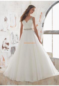 A-linie V-ausschnitt Moderne Brautkleider aus Organza mit Perlenstickerei