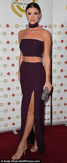 Perfect pins: The skirt had a split up to the thigh, allowing the former TOWIE star to sho...