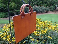 Leather Portfolio Handmade with Handles Made by HeirloomLeather