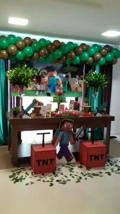 - Everything About Minecraft Birthday Party Games, 6th Birthday Parties, Boy Birthday, Minecraft Party Decorations, Birthday Party Decorations, Mindcraft Party, Minecraft Birthday Cake, Video Game Party, Cowgirl Decorations