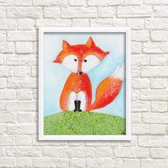 DIGITAL Print kids art FOX  Instand download  by SandraArtStudio