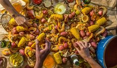 How to Do a One Pot Party - East Coast Style Shrimp Boil with Corn and Potatoes - Link to Recipe - Tasting Table Seafood Boil, Seafood Dishes, Fish And Seafood, Shrimp Boil Party, Cajun Boil, Fish Boil, Lobster Boil, Seafood Party, Cajun Shrimp