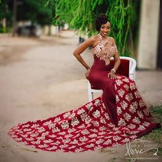 Sexy Burgundy Mermaid Long Dresses Evening Gowns With Gold Lace Appliques African High Neck Women Formal Dress One Shoulder Evening Dresses African Wedding Dress, African Print Dresses, African Print Fashion, African Fashion Dresses, African Dress, Wedding Dresses, African Style, Prom Gowns, Bridesmade Dresses