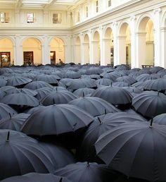 BLACK umbrella art installation in melbourne Black Umbrella, Umbrella Art, Under My Umbrella, Art Conceptual, Instalation Art, British Summer, English Summer, Parasols, Foto Art
