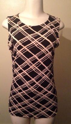 Womens Laura Leigh Black Beige Stretch Rayon Sleeveless Tank Dressy Blouse Sz. M $14.99 #dressy #workwear #officewear