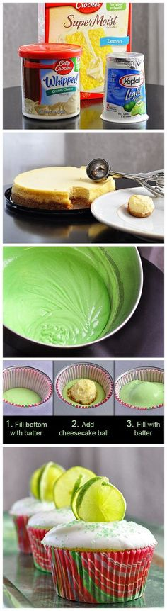 Ingredients CUPCAKES: 1 box Betty Crocker lemon cake mix 1 box (4-serving size) lime-flavored gelatin 3/4 cup water 1/3 cup Key lime juice 1/3 cup vegetable oil 3 eggs 2 or 3 drops green food color
