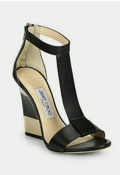a1ace37ff9d8 Jimmy Choo Striped Heel  JimmyChoo Platform Wedge Sandals