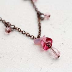 Pink Glass Grey Pearl and Antique Copper Necklace by YuniDesigns