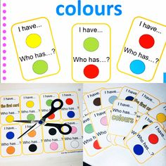Colours - I have, who has? English, Colours, Cards, English Language, Map, Playing Cards, Maps