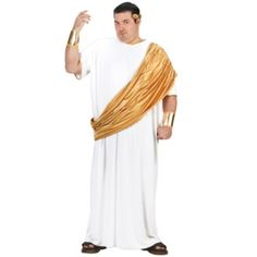 Hail Caesar X-Large Roman Toga Costume - This is a plus sized Roman toga costume great for Roman themes or playing Caesar. This Hail! Caesar costume is an easy and complete costume for those who want a simple Halloween. It comes with toga, drape, head piece and wrist cuffs. #YYC #CAlgary #costume #Caesar #JuliusCaesar