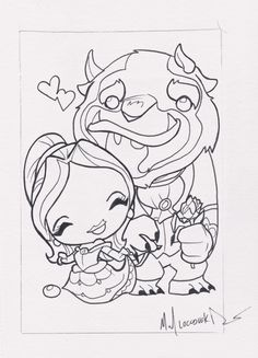 "ORIGINAL ART - Beauty & the Beast, 5X7 ink drawing by Michael ""Locoduck"" Duron"
