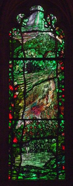 "https://flic.kr/p/a842Ln | Traherne window 1 | First light of four windows based on 17th century Hereford poet Thomas Traherne (1637-74). The theme the landscape as the body of God. It is the work of Tom Denny and was installed in March 2007 in Hereford Cathedral. From top to bottom, we see Hereford in the distance, an oak tree, a figure running through a field of corn, and a pool fed by a spring. The inspiration for the window are the lines from Centuries: ""How do we know, but the worl"