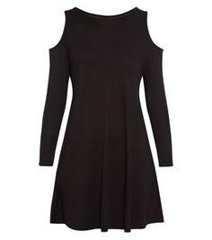 £14.99 Dress New Look Black Open Shoulder Swing Dress