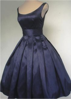 Navy Shantung tea length 50s style dress, made to order!