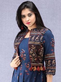 Naaz Roheen - Hand Block Printed Long Cotton Box Pleated Embroidered Jacket Dress - : Naaz Roheen - Hand Block Printed Long Cotton Box Pleated Embroidered J – InduBindu Printed Kurti Designs, Simple Kurti Designs, Kurta Designs Women, Latest Kurti Designs, Jacket Style Kurti, Kurti With Jacket, Jacket Dress, Frock Style Kurti, Kurta Style